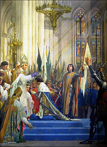 Joan of Arc at coronation of Charles VII at Reims Cathedral by Jules-Eugene Lenepveu