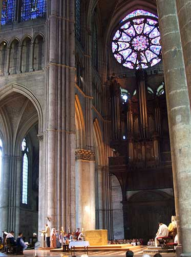 Inside Cathedral of Reims during Reenactment of the crowning and of Charles VII