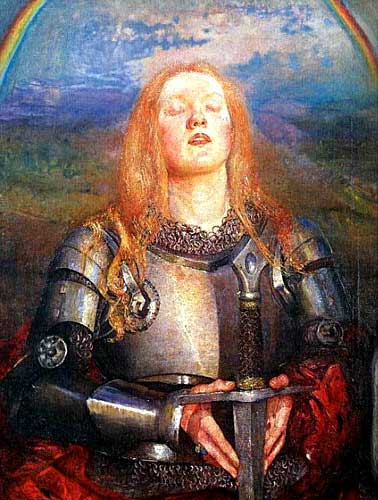 Joan of Arc in armor praying with sword by Annie Louisa Swynnerton