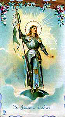 Picture of early 19th century Holy Card of Saint Joan of Arc